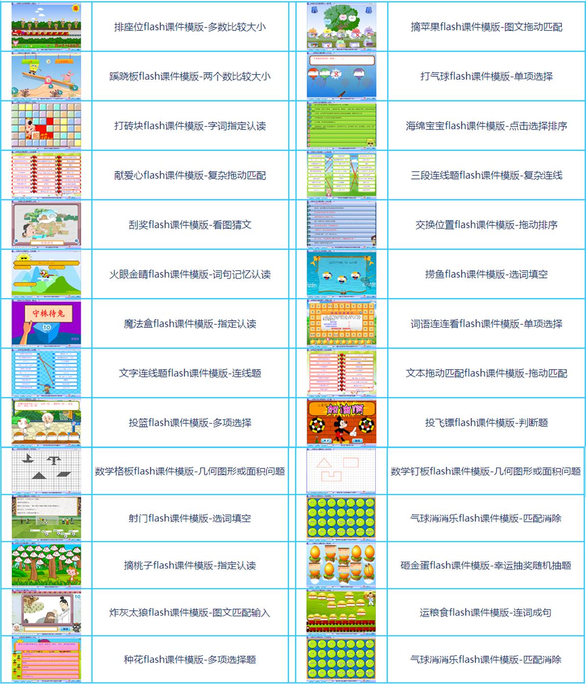 可替换内容的flash游戏课件模版-多学科课件游戏模版(共29套打包)大图